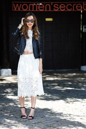 lady addict blogger skirt top jacket shoes sunglasses jumpsuit