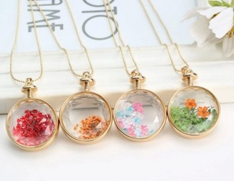 jewels flowers necklace red pink green