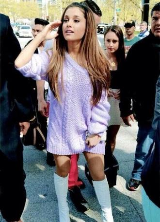 sweater purple sweater oversized sweater purple jumper ariana grande shoes dress purple dress inspiration pastel fashion fashion icon nude purple sweater dress pink cable knit chanel oversized jumper