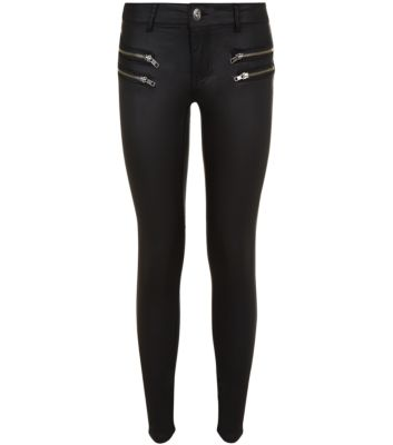 Parisan black zip pocket coated skinny jeans
