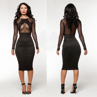 dress black sexy black dress party cleavage