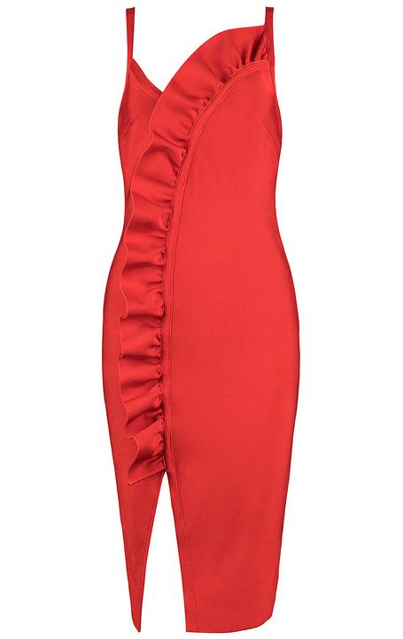Ruffle Detail Slit Midi Bandage Dress Red