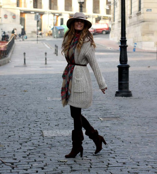 rebel attitude blogger knitted cardigan fedora blanket scarf tartan scarf cardigan