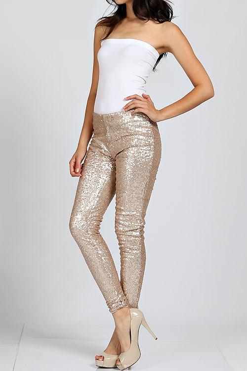 Gold Sequin Pants Metallic