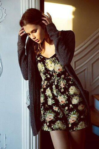 coat floral romper summer summer romper jump suit spring cardigan grey gray cardigan summer outfits dress