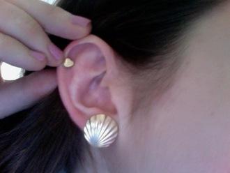 jewels earrings clam silver