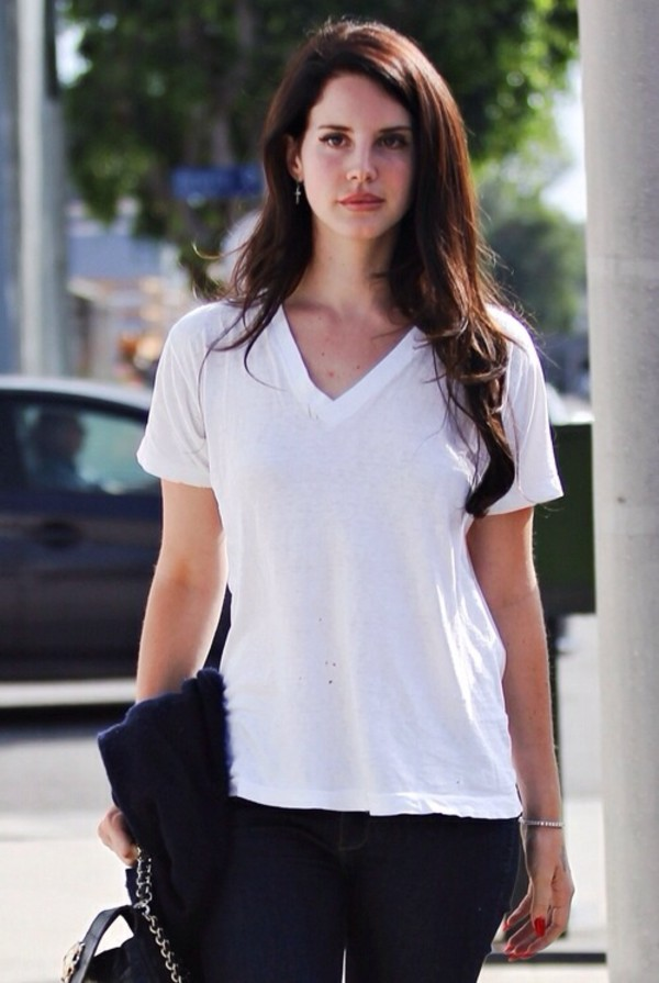 shirt lana del rey los angeles pink dress pink t-shirt celebrity summer white shirt white t-shirt v neck american apparel