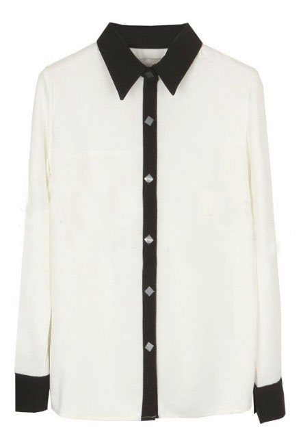 White Lapel Long Sleeve Contrast Trims Blouse - Sheinside.com