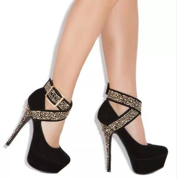Shoes: black high heels, black shoes, high heels, gold heels ...