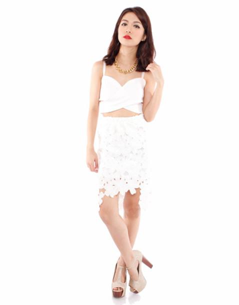 skirt lace white lace skirt lace skirt lace floral skirt white skirt