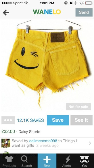 smiley face shorts yellow high waisted short denim shorts highwaisted shorts