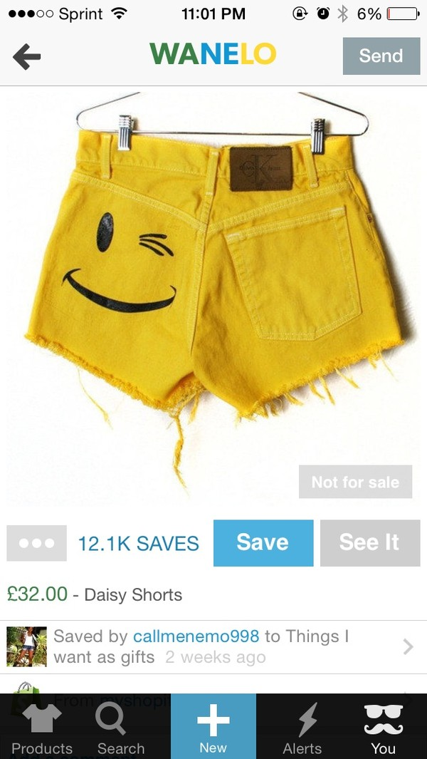 shorts yellow smiley denim shorts High waisted shorts High waisted shorts