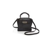bag,zac posen,shoulder bag,black bag,black,leather bag