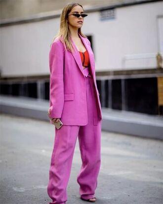 jacket blazer pink blazer red top top pants pink pants sunglasses