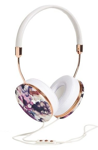 floral headphones technology holiday gift girly wishlist earphones printed headphones