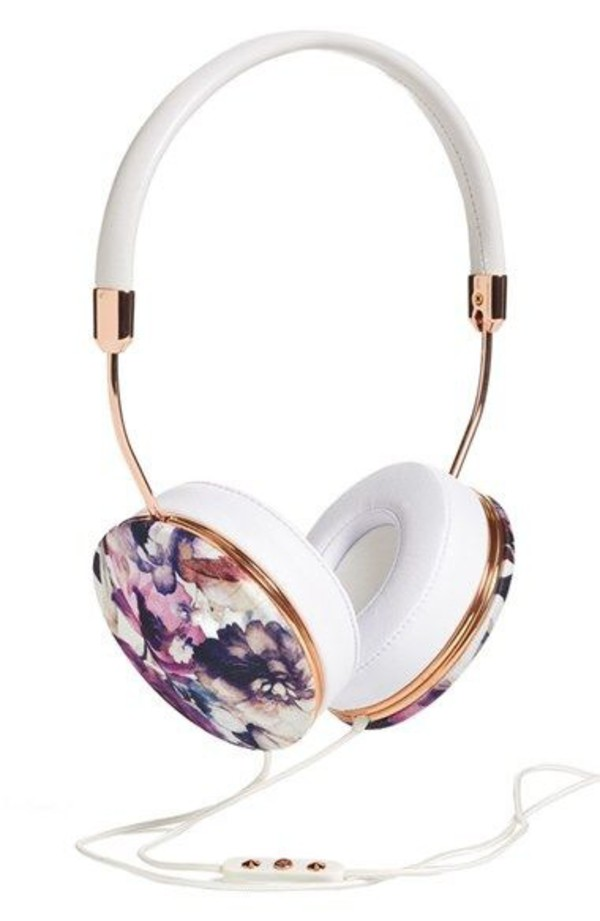 floral headphones technology holiday gift girly wishlist earphones printed headphones hipster grunge music indie white frends headphones