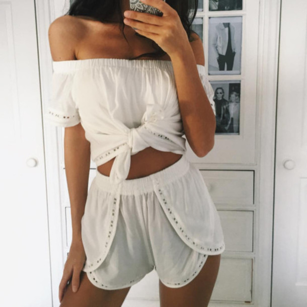Top shots white top two-piece outfit dress shorts shirt clothes tumblr outfit two ...
