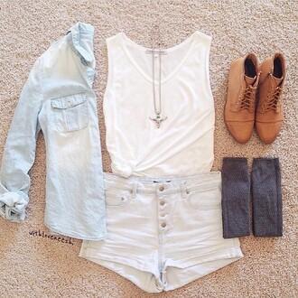 shorts denim shorts denim jacket white top lace-up shoes shirt shoes