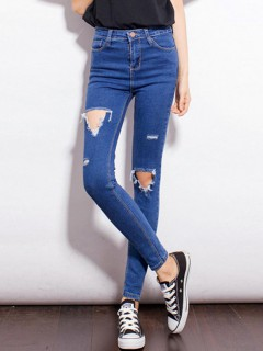 Blue skinny cut out pants