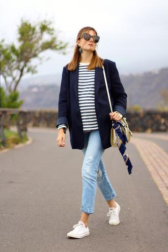 marilyn'scloset blogger jeans sunglasses shoes bag jacket jewels sneakers striped top blazer blue jacket shoulder bag spring outfits