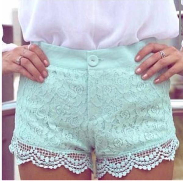 shorts lace lace shorts mint minty minty shorts minty lace