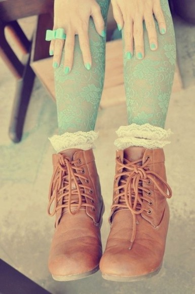 shoes boots ankle boots brown leather boots fall boots boots with laces lace up boots combat boots lace socks frills underwear leather short boots brown brown boots frilly socks fashion tights blue dress blue skirt blue shirt aqua lace dress lace up ring bows ahoes friends nail polish