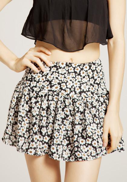 Floral chiffon flounce skirt