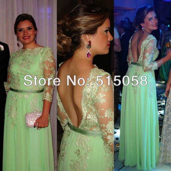 dress mint mint dress evening dress evening dress chiffon dress 2014 formal dress