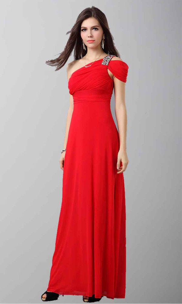 red dress one shoulder dresses off the shoulder empire waist dress long prom dress long formal dress