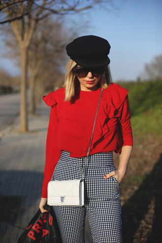 blouse ruffled top sunglasses tumblr red top ruffle pants gingham printed pants bag white bag mini bag chain bag hat fisherman cap