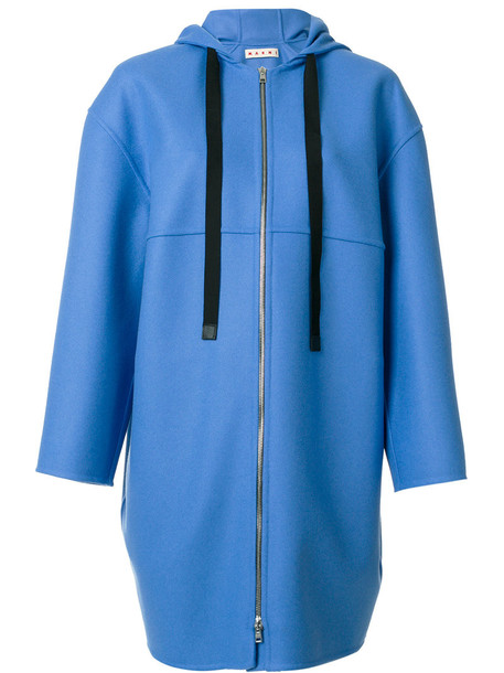 coat zip women blue wool