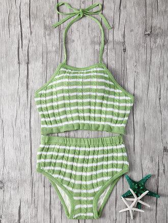 swimwear green fashion summer beach stripes trendy knitwear zaful