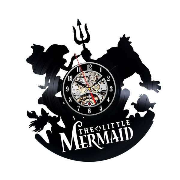 home accessory wall clocks vinyl clocks creative clocks clocks for girls gifts for her vintage clocks cute beautiful gift ideas the little mermaid little mermaid gifts little mermaid theme little mermaid clocks bedroom clocks for girls vinyl record clocks birthday gifts for her