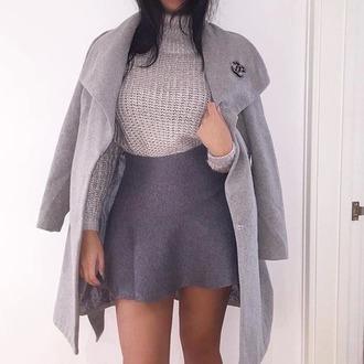dress grey sexy classy outfit top shirt grey skirt grey bodysuit knit top grey coat fashion jacket