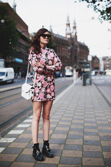 style scrapbook blogger bag sunglasses roses shift dress