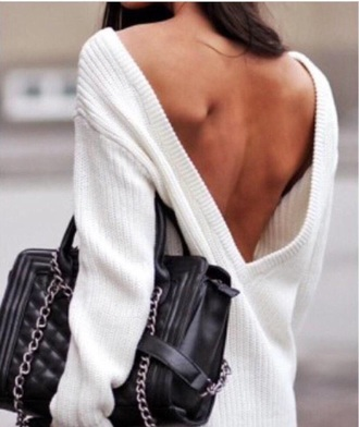 sweater white sweater low back white top