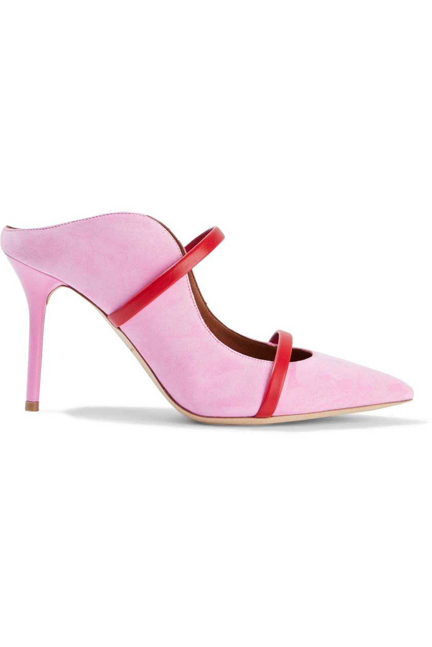 Malone Souliers Woman Maureen 85 Leather-trimmed Suede Mules Baby Pink Size 37