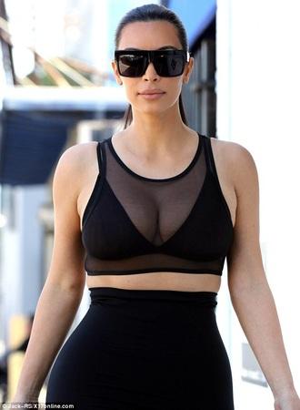 sunglasses glasses black kim kardashian top black crop top