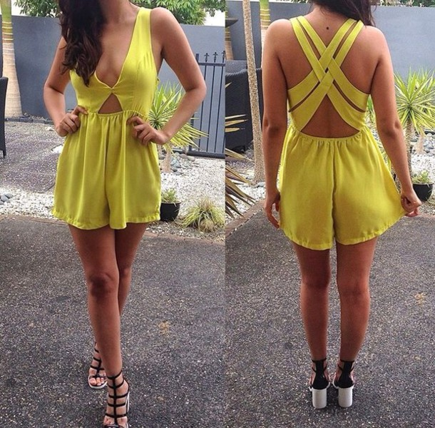 a350838181 dress yellow summer dress yellow chiffon dress yellow playsuit neon romper  jumpsuit summer playsuit