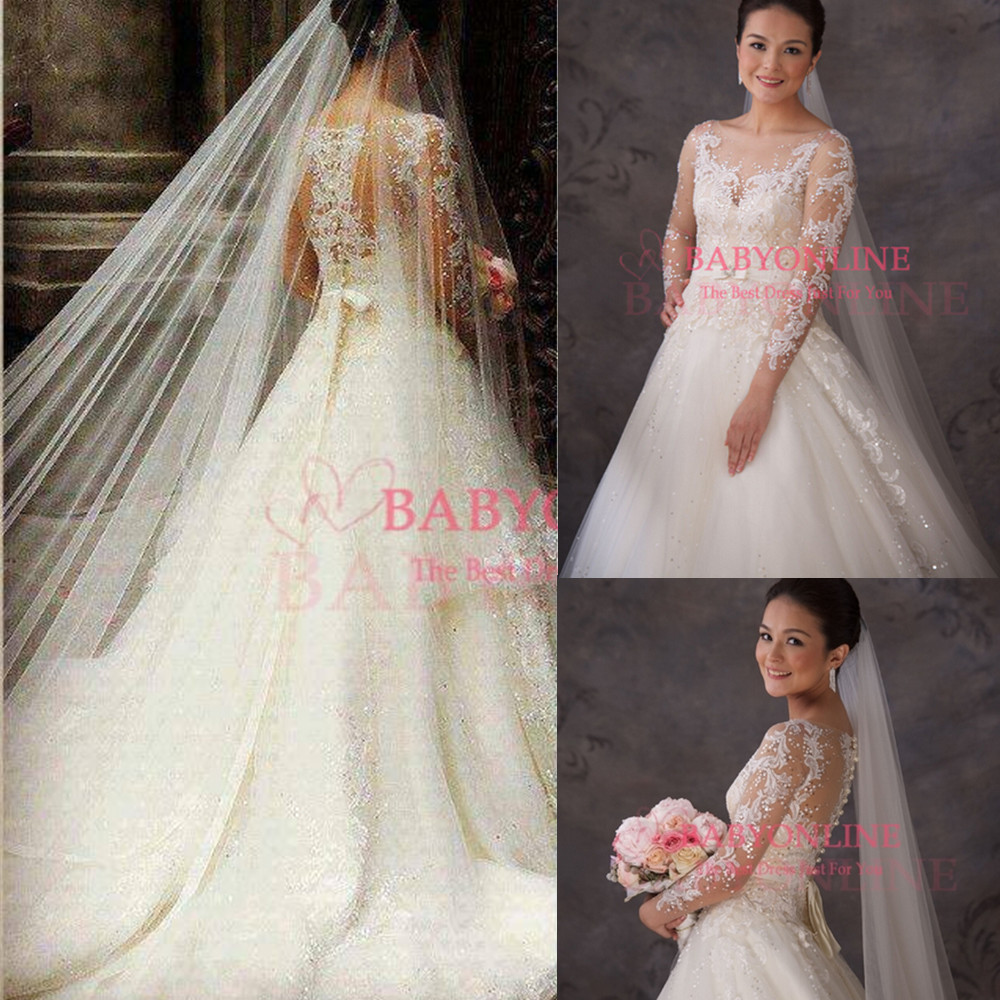 Aliexpress.com : Buy vestidos de noiva wedding dress 2014 bridal gown with sleeves sexy see through ball gown princess bridal dress BO3770 from Reliable dresses for a wedding guest suppliers on Dress Just For You.