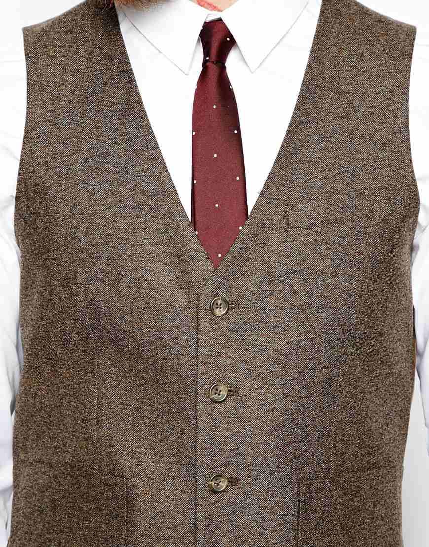ASOS Slim Fit Waistcoat In Herringbone at asos.com