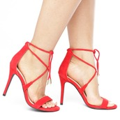 shoes,heels,red,red shoes,red heels,strappy,strappy shoes,strappy heels