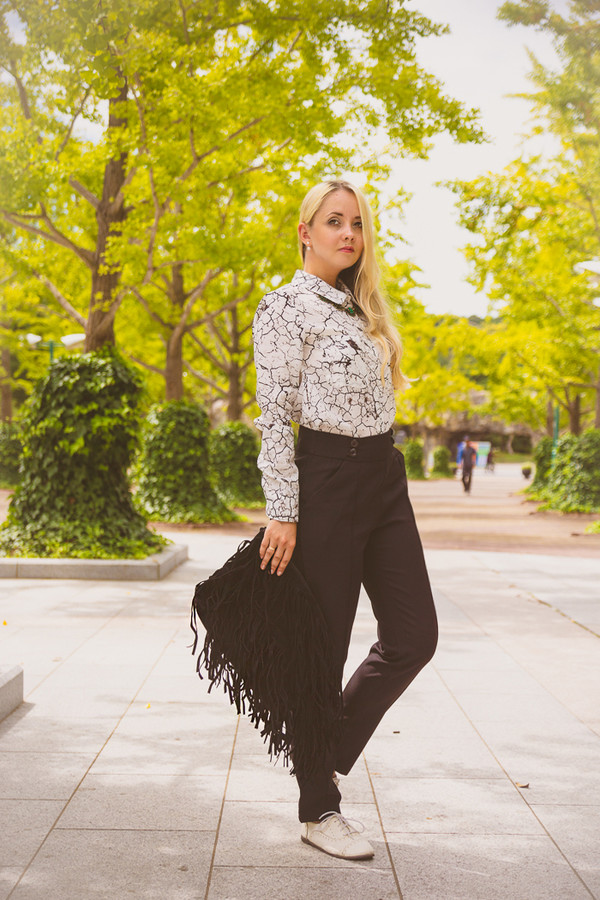 my blonde gal blogger jewels blouse bag