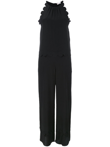 RED VALENTINO jumpsuit women scalloped black silk