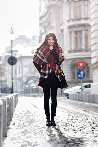 scarf red plaid scarf black coat black jeans combat boots blogger