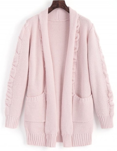 cardigan girly knitwear knit knitted sweater knitted cardigan long oversized cardigan long cardigan pink light pink