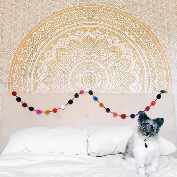 Mandala Wall Decor home accessory: golden tapestry, gold, mandala, wall hanging, wall