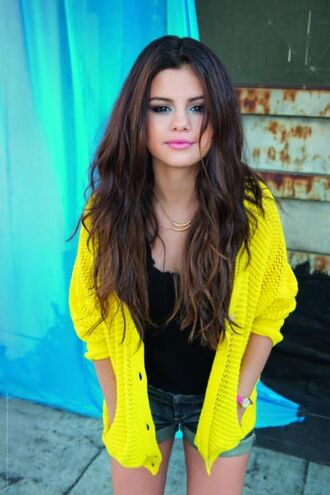 sweater neon yellow selena gomez cardigan blouse gomaz selena soft nitted pretty jacket fluo adidas clothes tumblr knitted cardigan fluro yellow yellow cardigan celebrity celebrity style black top
