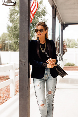 jeans velvet tumblr blue jeans ripped jeans side stripe pants blazer blue blazer velvet blazer sunglasses jacket