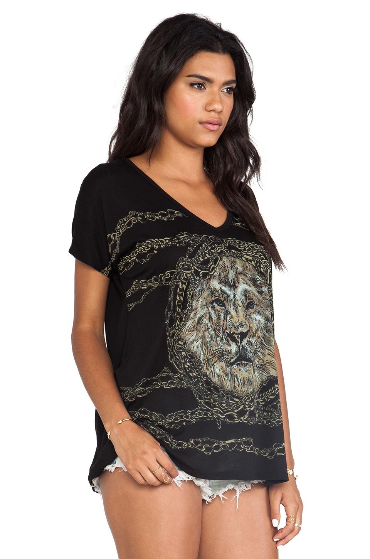 Lauren moshi april chain lion oversized v neck tee in black from revolveclothing.com